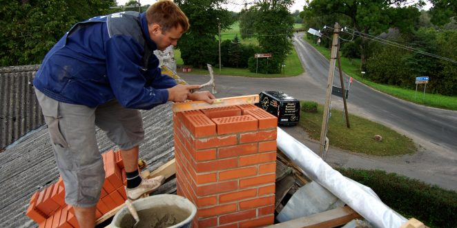 Chimney construction with frost restistant bricks